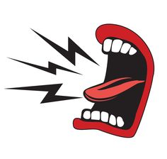 Cartoon mouth with tongue sticking out and lightning bolts sticking out of it indicating loud yellling.